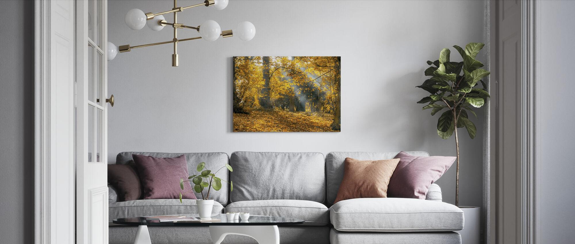 Keltainen Syksyn lehdet - Canvastaulu - Olohuone