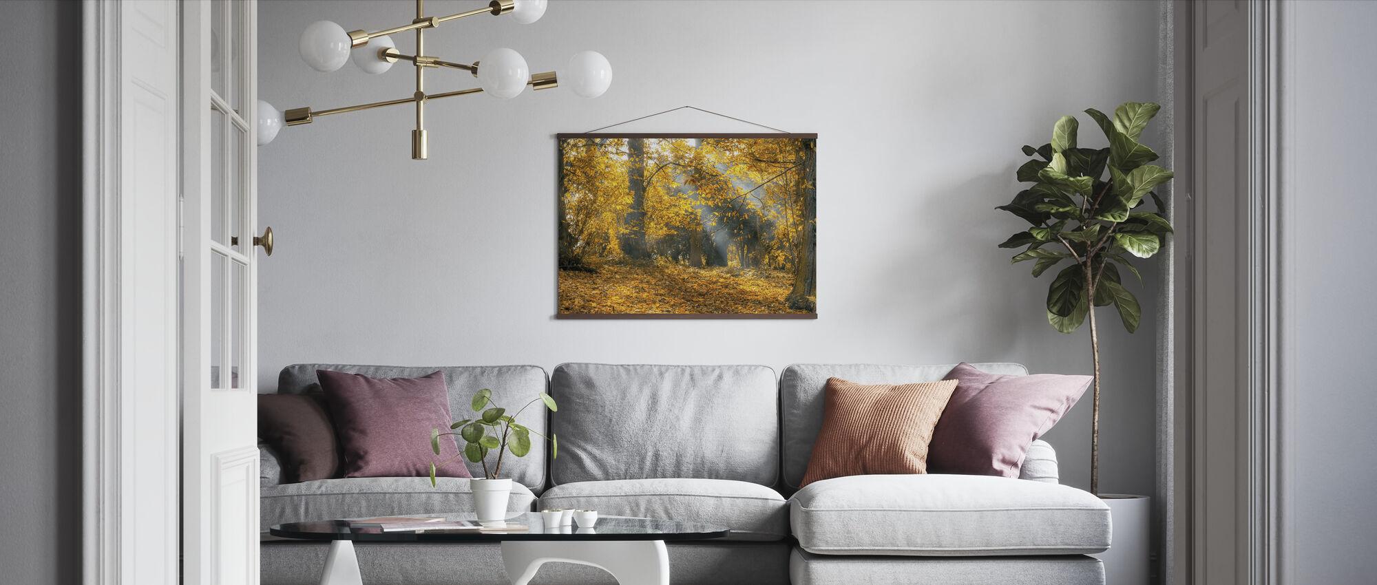 Gul efterårsblade - Plakat - Stue