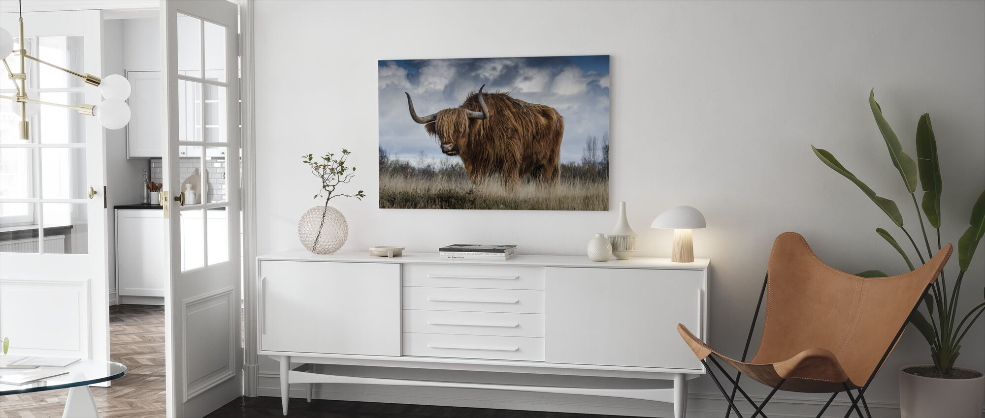 Bull Grazing in the Meadow - Canvas print - Living Room