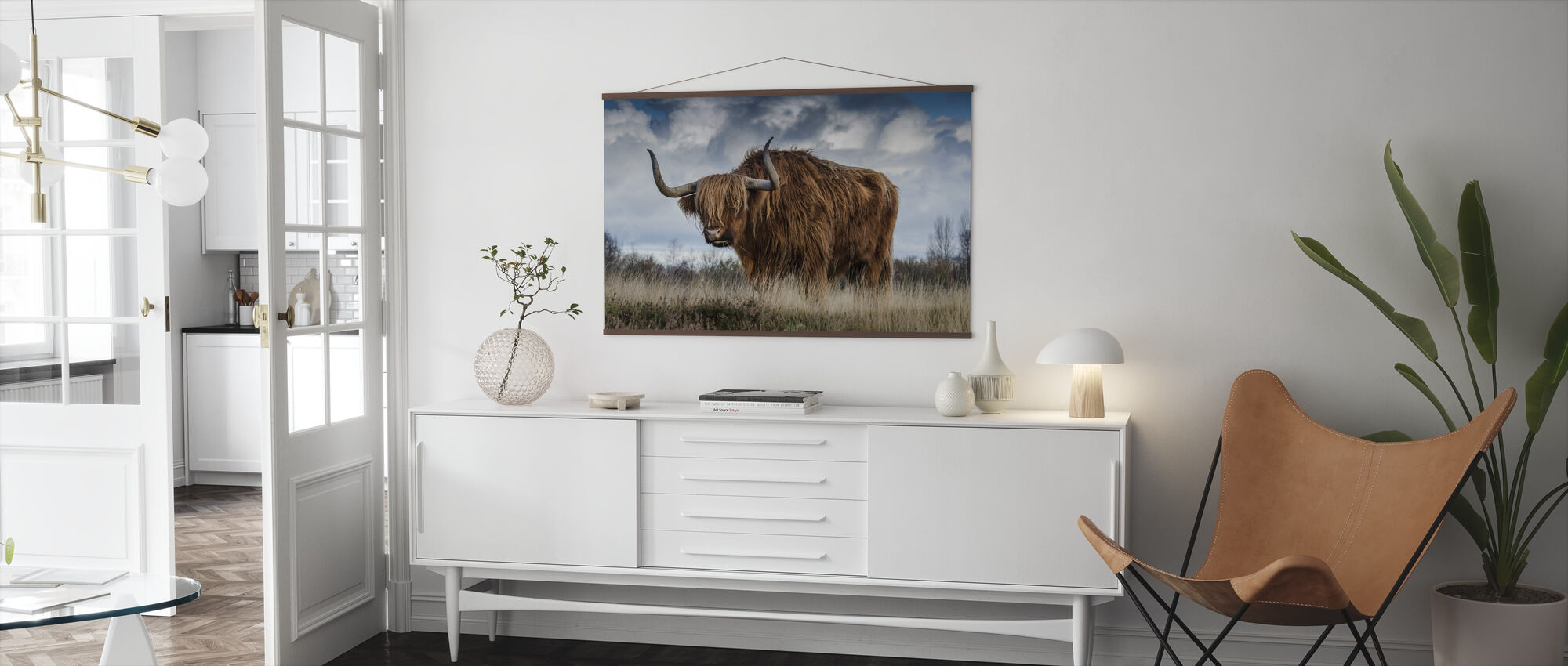 Bull Grazing in the Meadow - Poster - Living Room