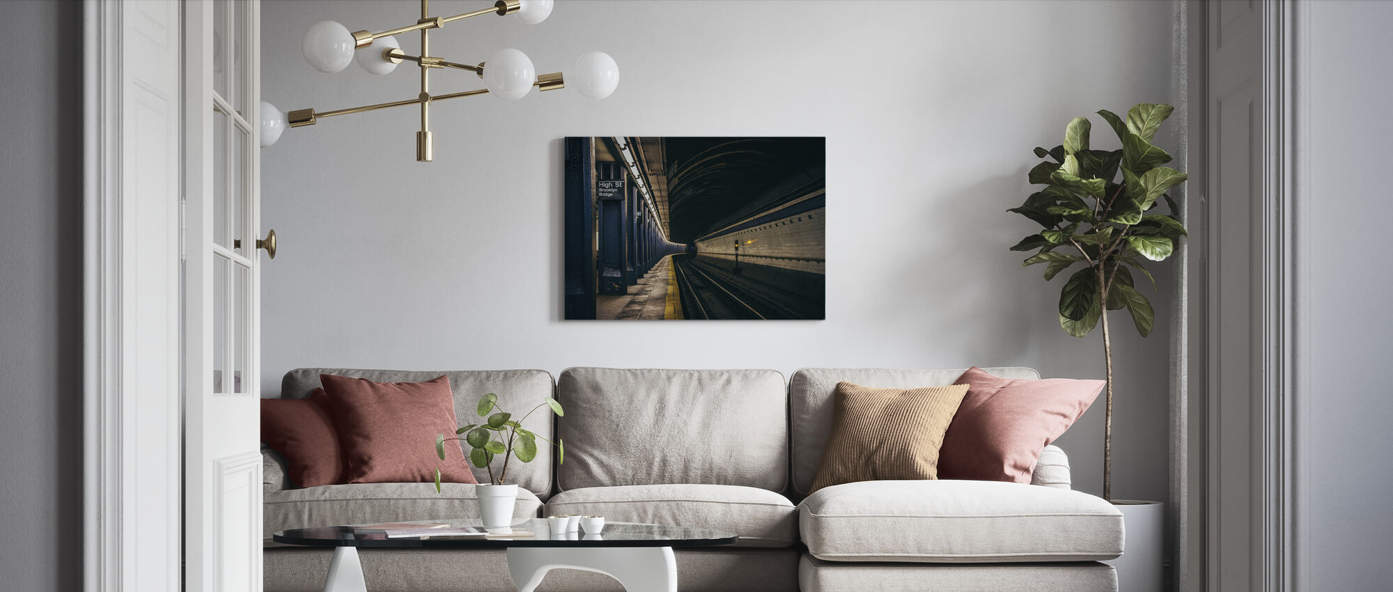 Underjordisk jernbane - Billede på lærred - Stue