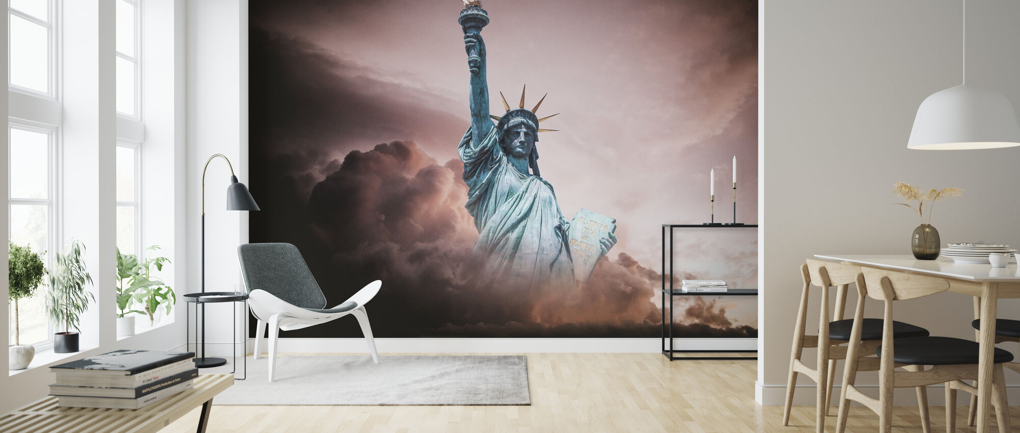 Statue of Liberty in Clouds - Wallpaper - Living Room