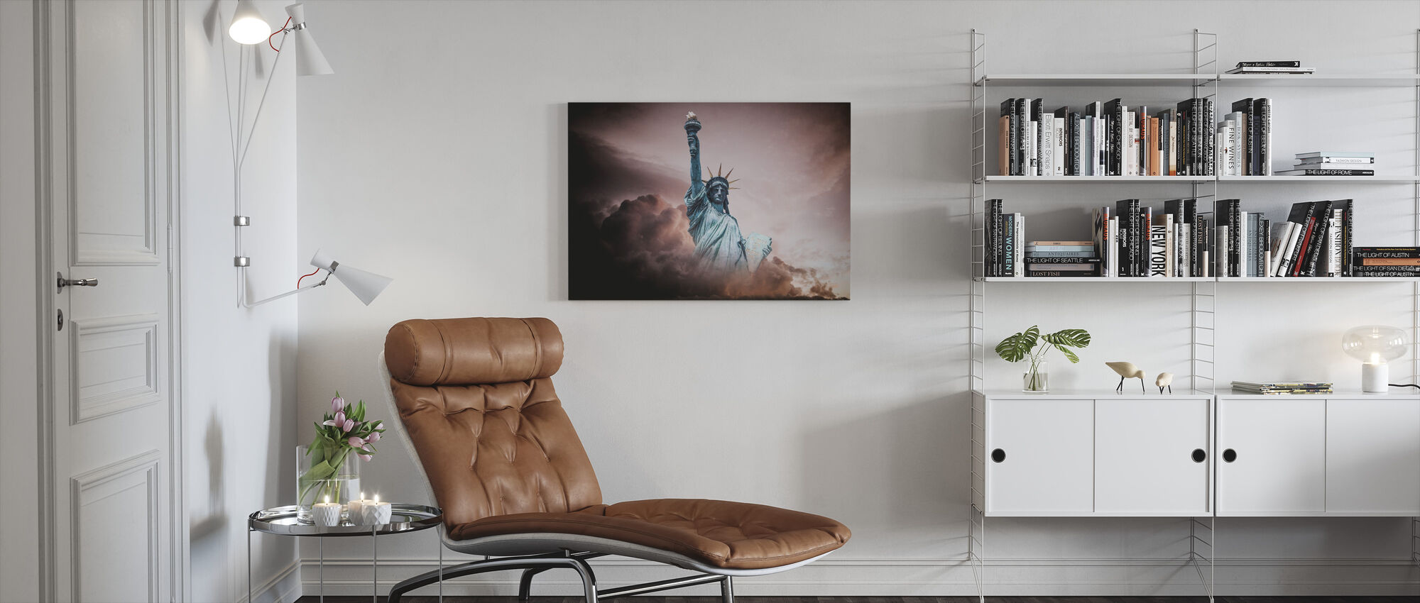 Statue of Liberty in Clouds - Canvas print - Living Room