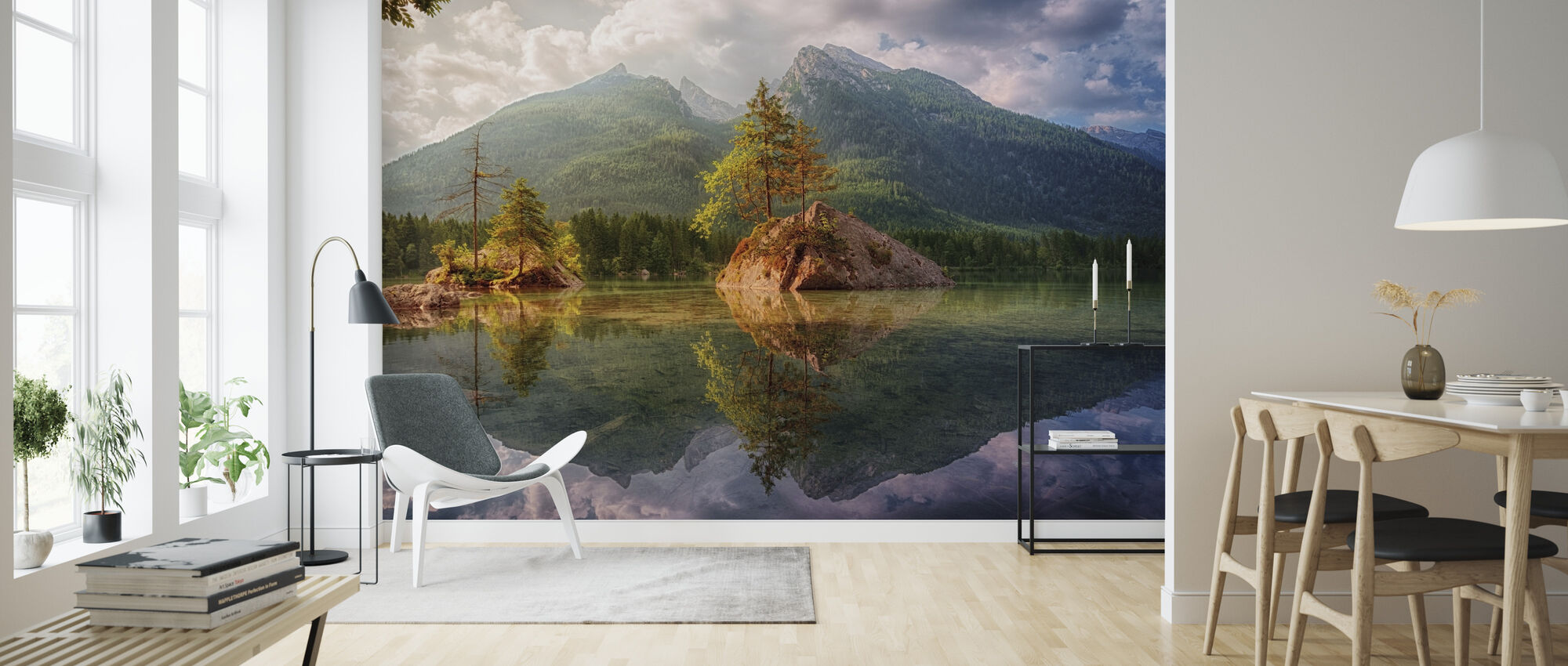 Lake and Mountain Reflection - Wallpaper - Living Room