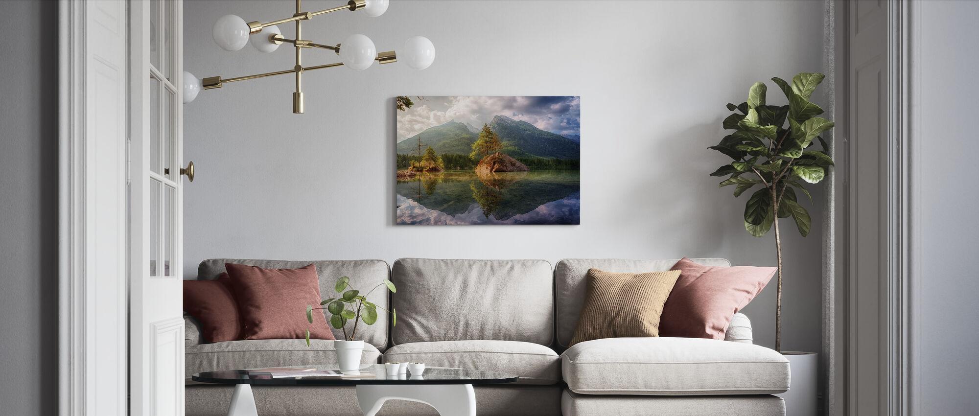 See und Berg Reflexion - Leinwandbild - Wohnzimmer