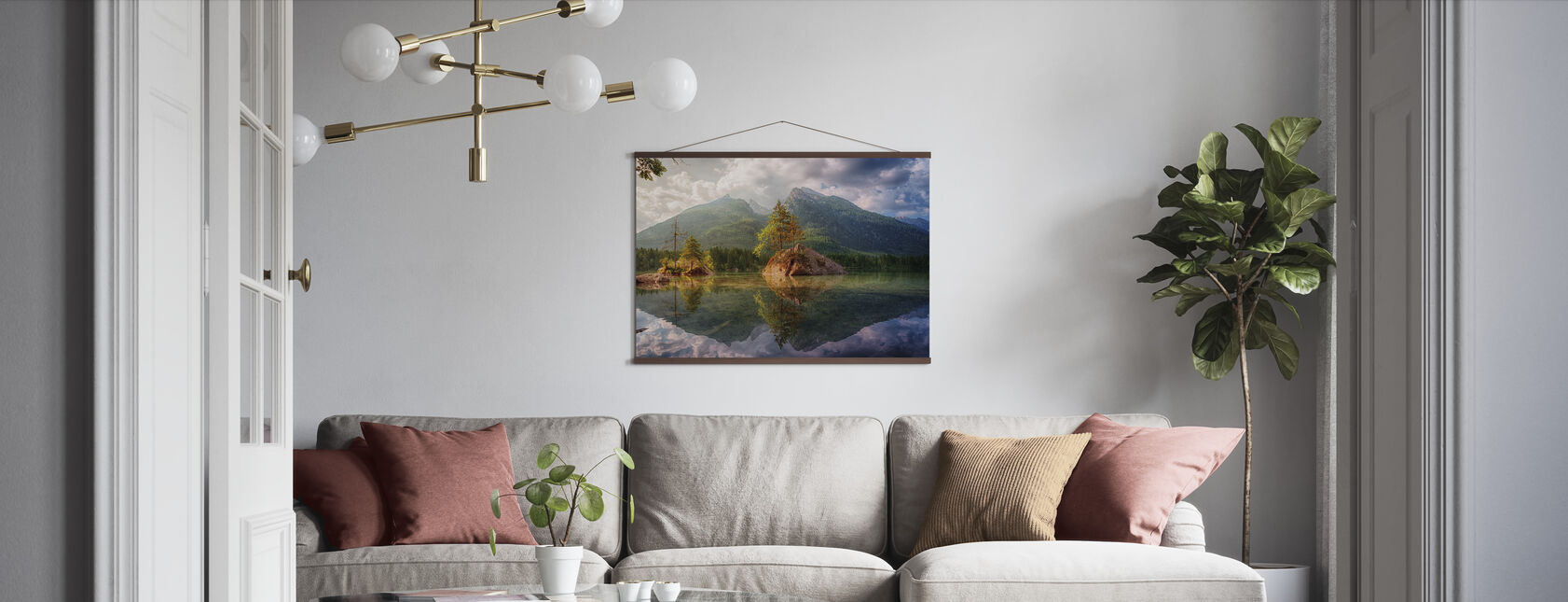 Lake and Mountain Reflection - Poster - Living Room