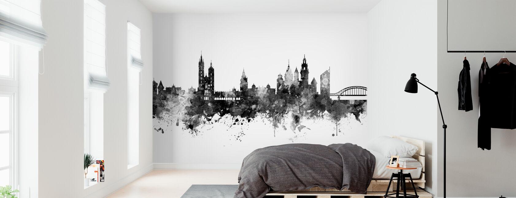 Krakow Poland Skyline Black - Wallpaper - Bedroom