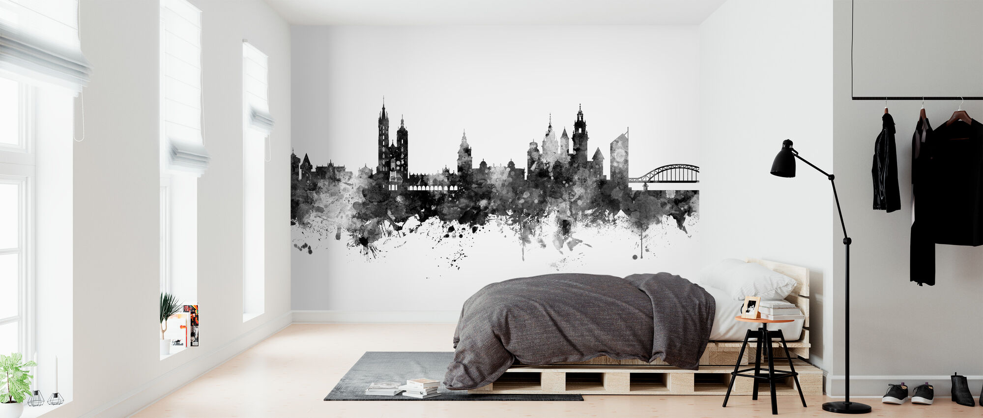 Krakow Poland Skyline Black - Wallpaper - Bedroom