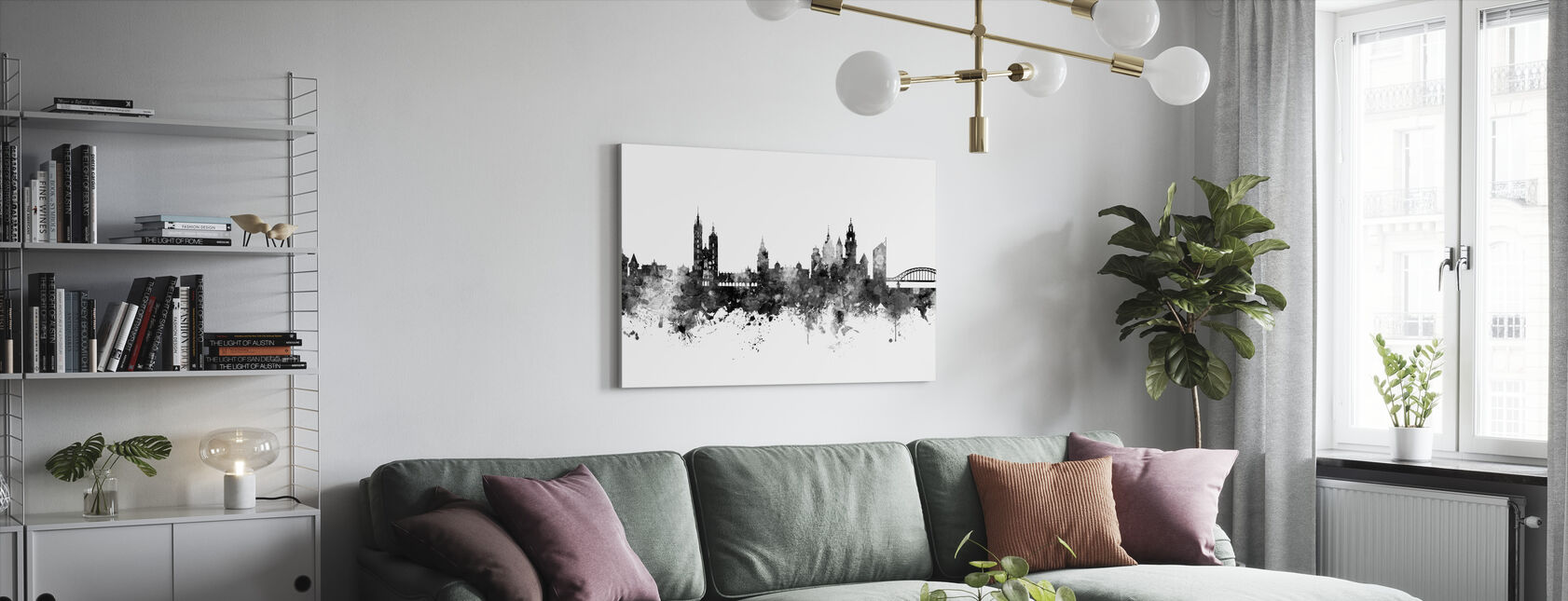 Krakow Poland Skyline Black - Canvas print - Living Room