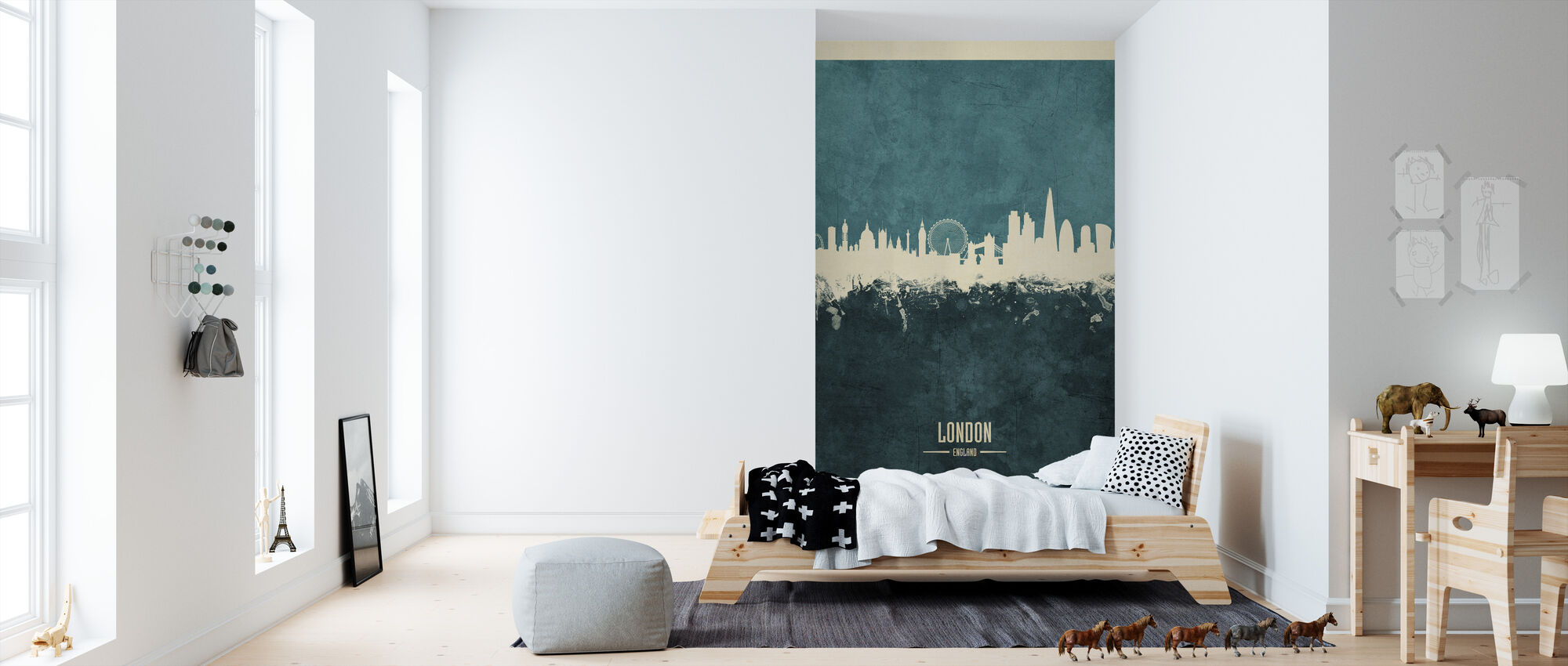 London England Skyline Blue - Wallpaper - Kids Room