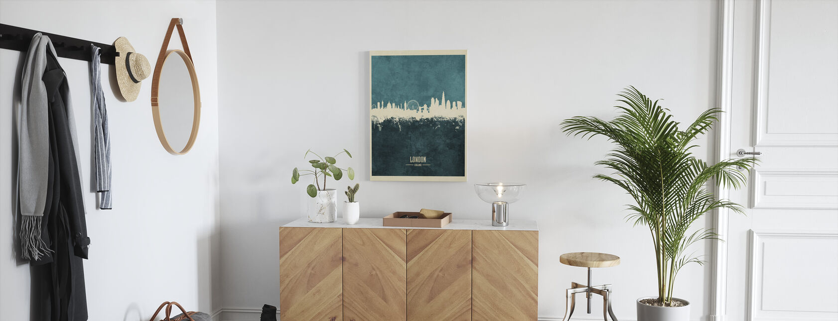 London England Skyline Blue - Canvas print - Hallway