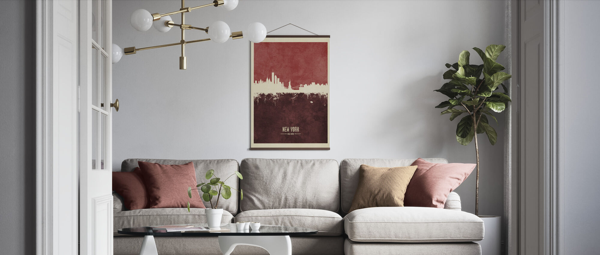New York Skyline Red - Poster - Living Room