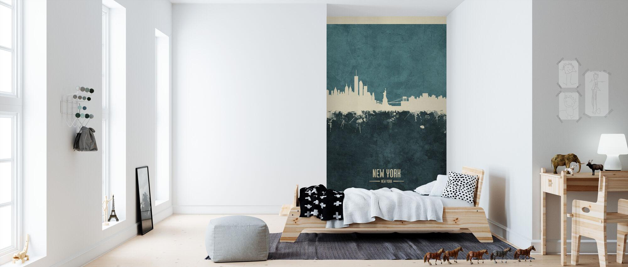 New York Skyline Blue - Wallpaper - Kids Room
