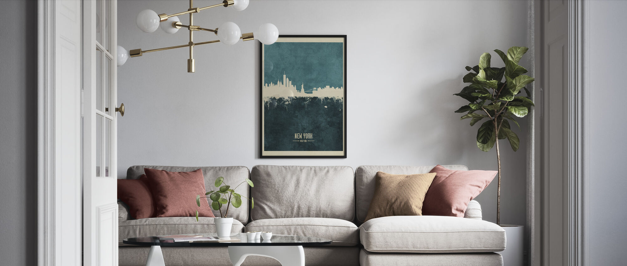 New York Skyline Blue - Framed print - Living Room