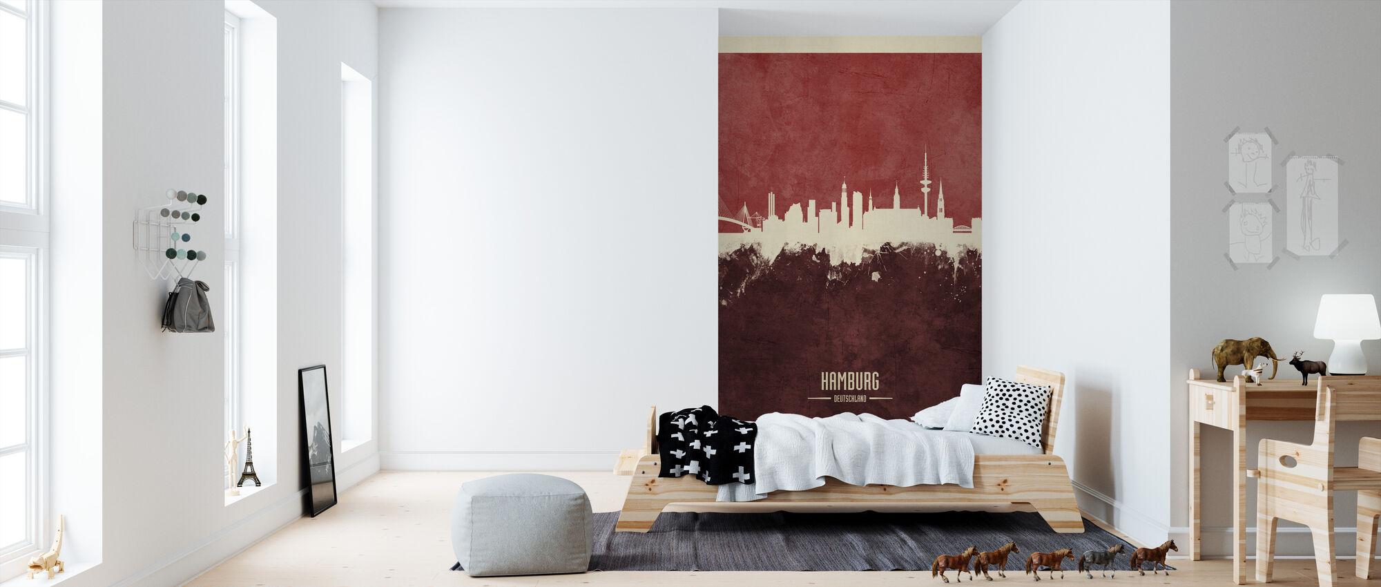 Hamburg Germany Skyline Red - Wallpaper - Kids Room