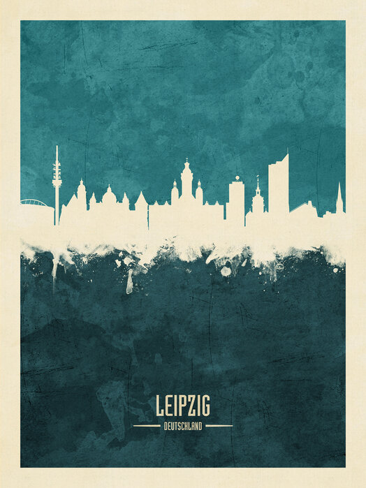 Leipzig Germany Skyline Blue Unique High Quality Poster Photowall