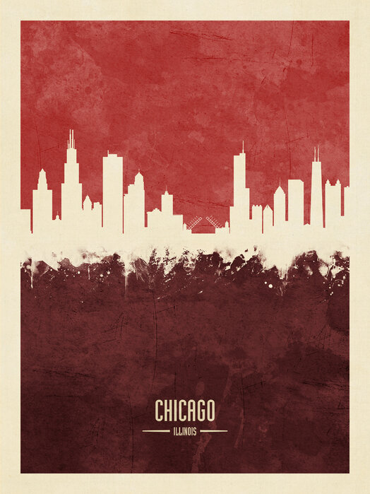 Chicago Illinois Skyline Red Popular Wall Mural Photowall