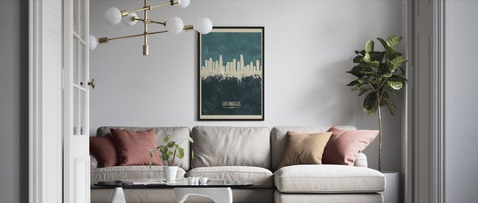 Los Angeles California Skyline Blue - Framed print - Living Room