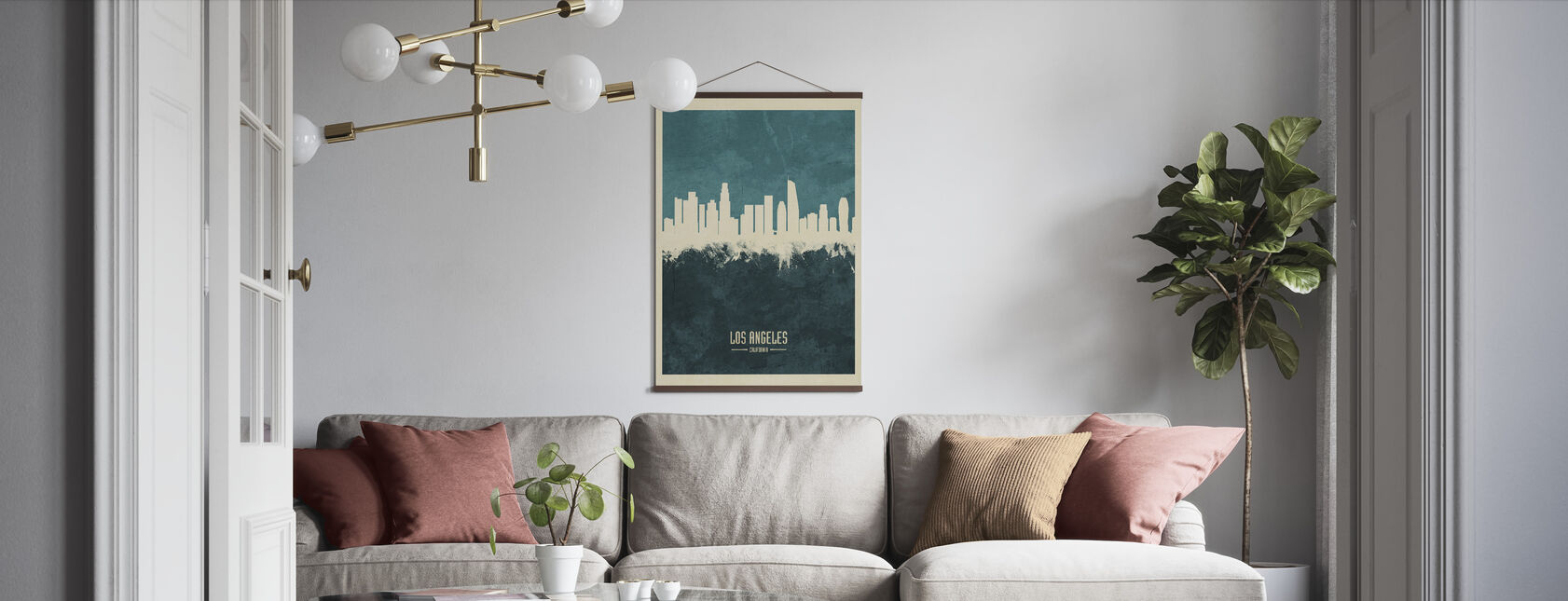 Los Angeles California Skyline Blauw - Poster - Woonkamer