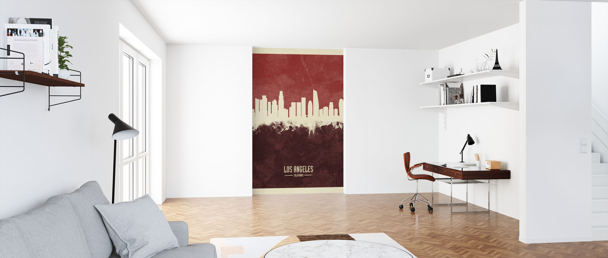 Los Angeles California Skyline Red - Wallpaper - Office
