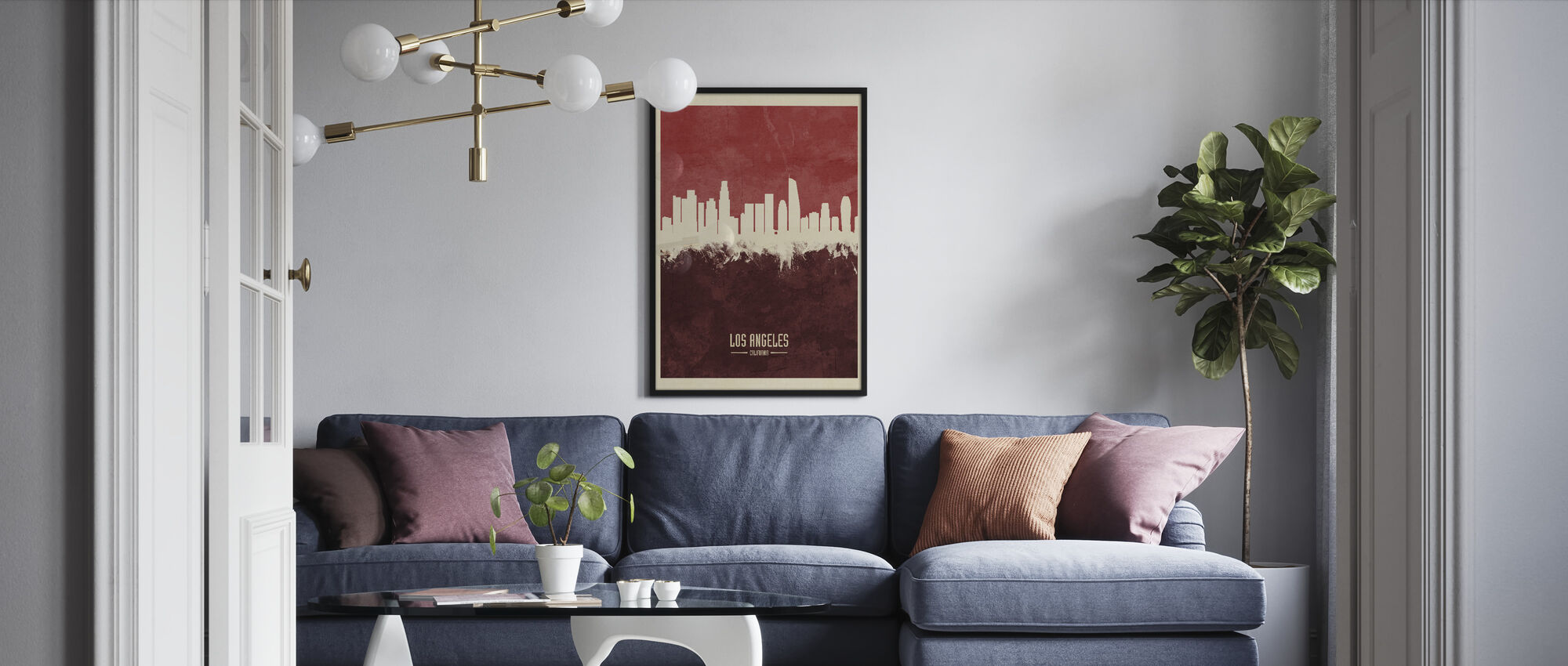 Los Angeles California Skyline Red - Framed print - Living Room