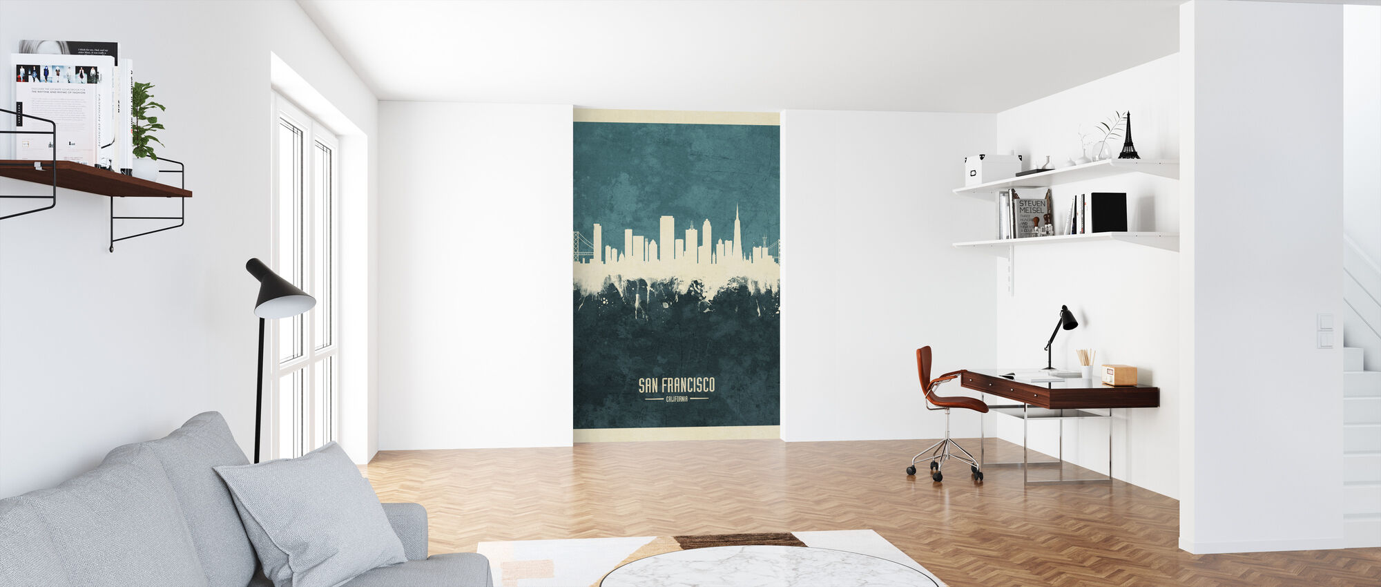San Francisco California Skyline Blue - Wallpaper - Office
