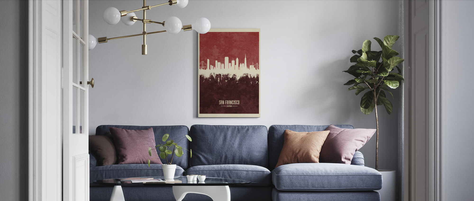 San Francisco California Skyline Red - Canvas print - Living Room