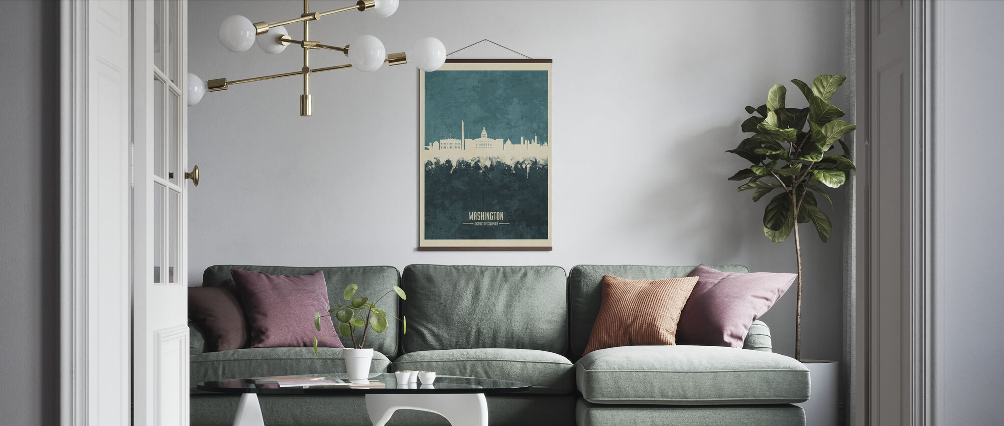 Washington DC Skyline Blue - Poster - Living Room