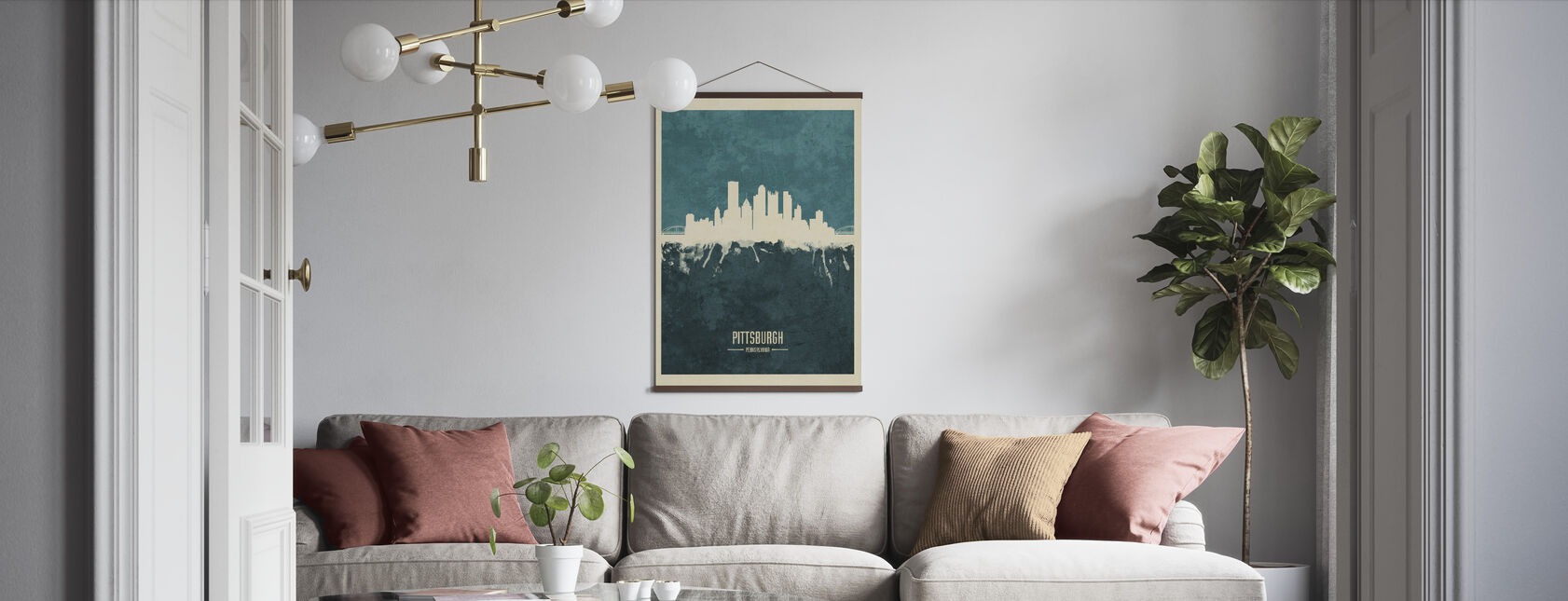 Pittsburgh Pennsylvania Skyline Blue - Poster - Living Room