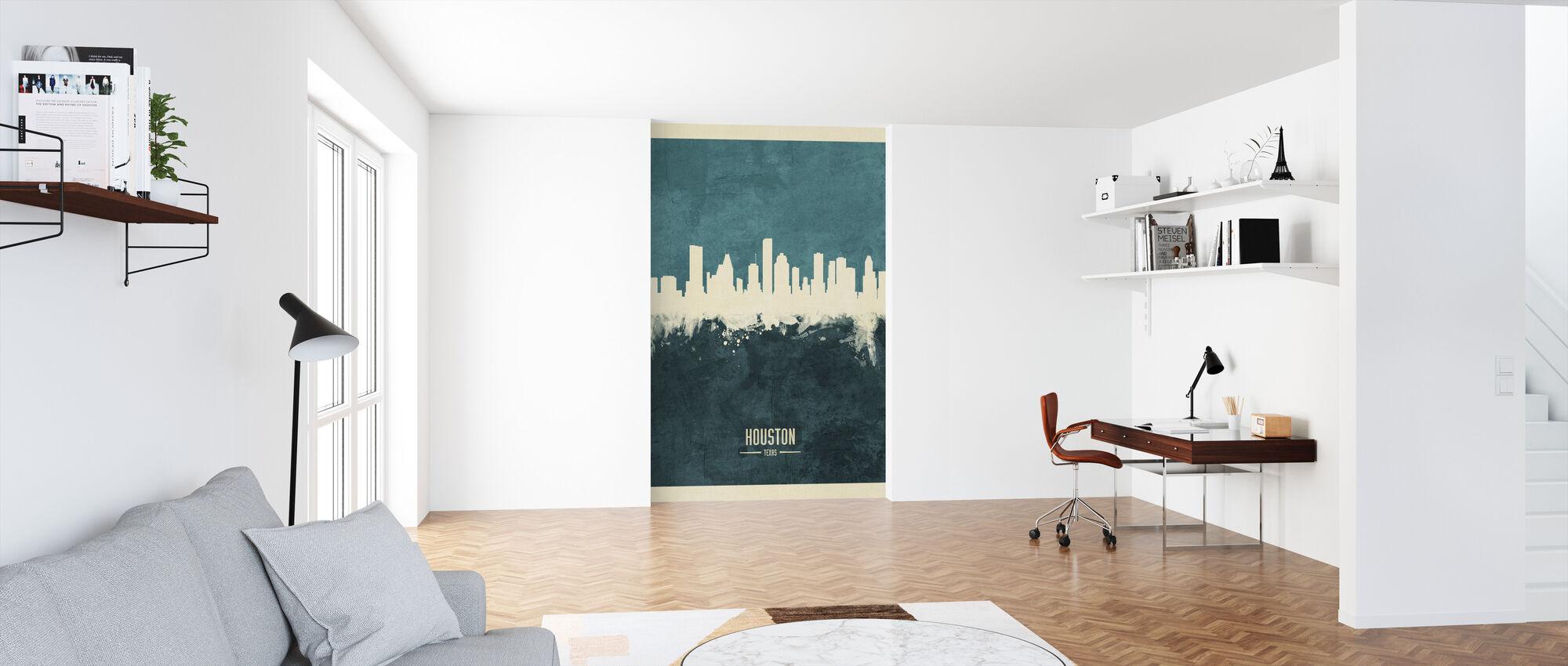 Houston Texas Skyline Blue - Wallpaper - Office