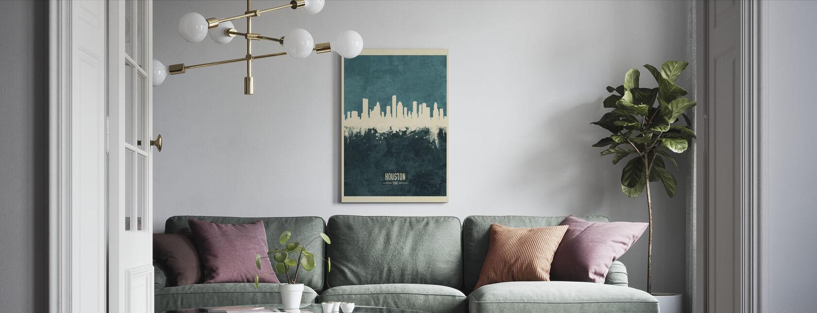 Houston Texas Skyline Blauw - Canvas print - Woonkamer