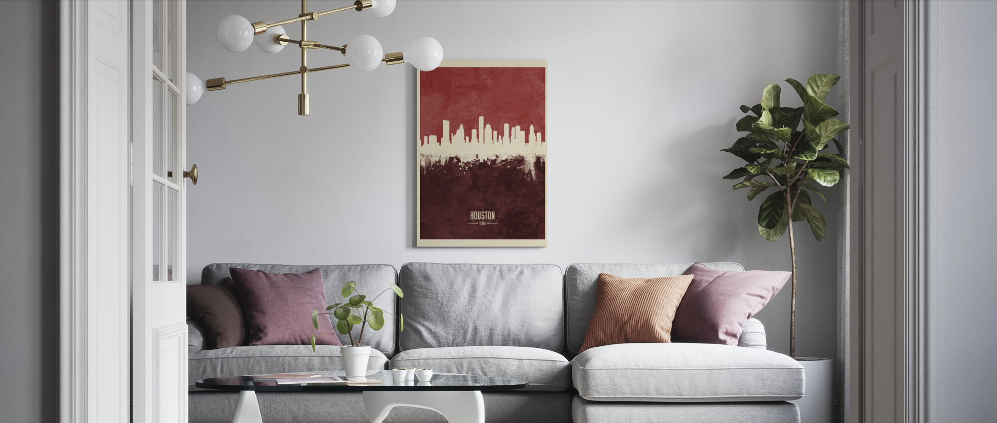 Houston Texas Skyline Red - Canvas print - Living Room