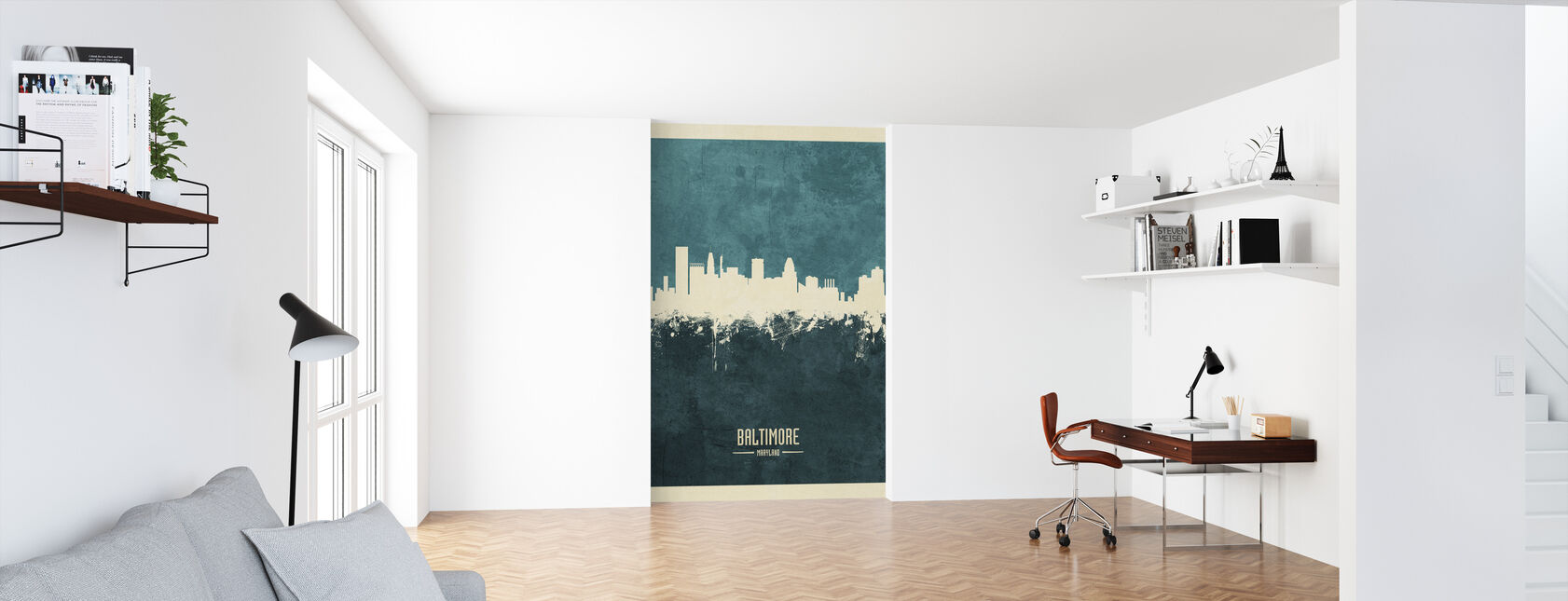 Baltimore Maryland Skyline Blue - Wallpaper - Office
