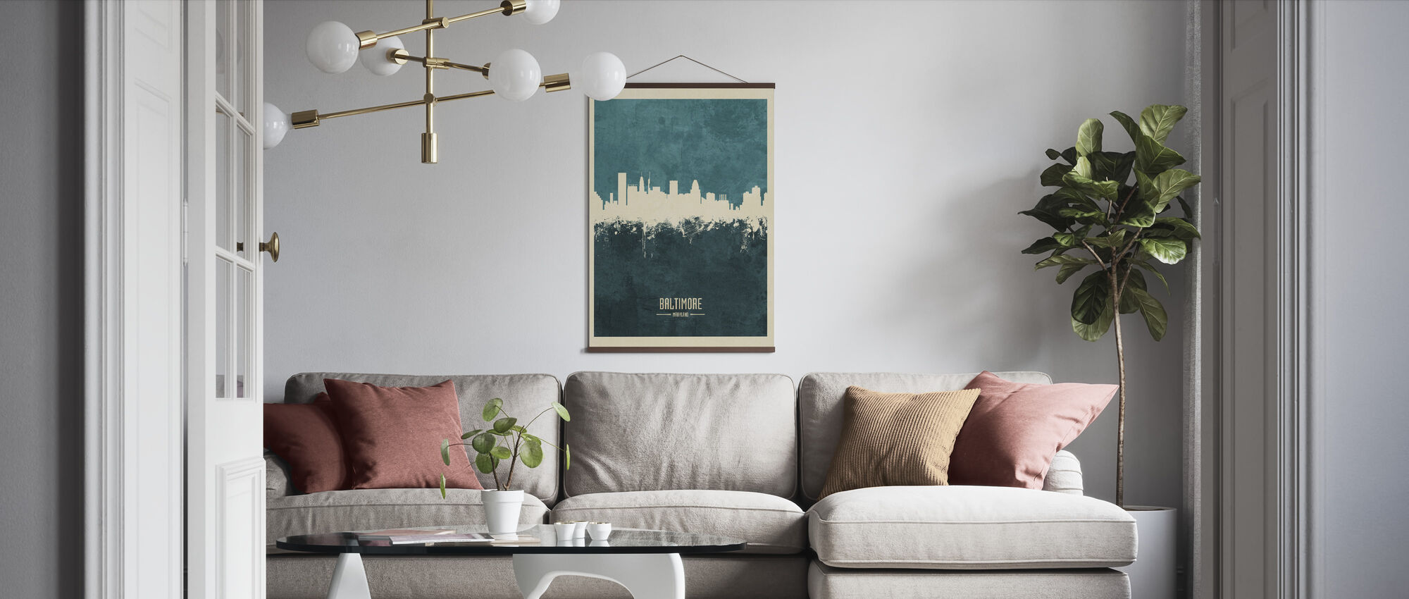Baltimore Maryland Skyline Blue - Poster - Living Room