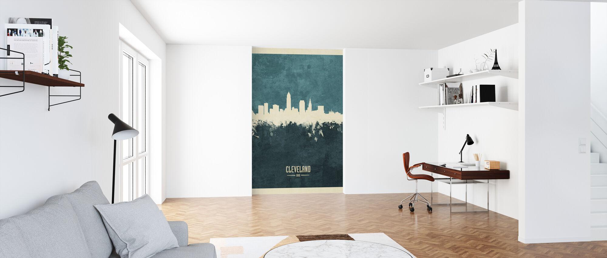 Cleveland Ohio Skyline Blue - Wallpaper - Office
