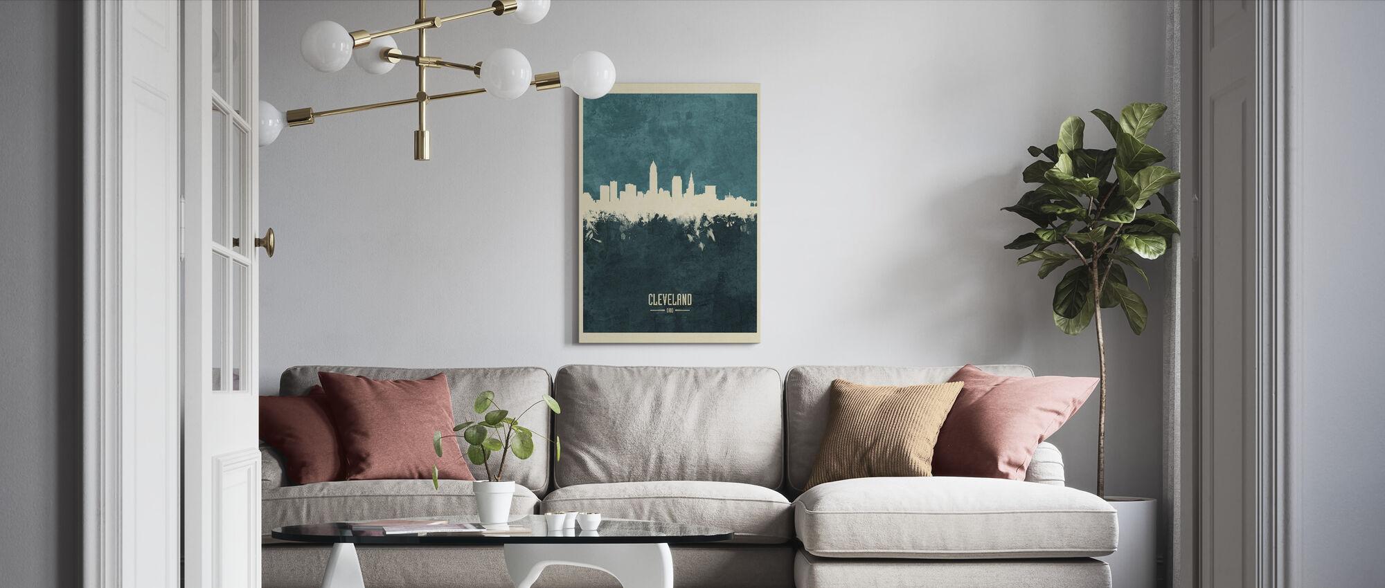 Cleveland Ohio Skyline Blauw - Canvas print - Woonkamer
