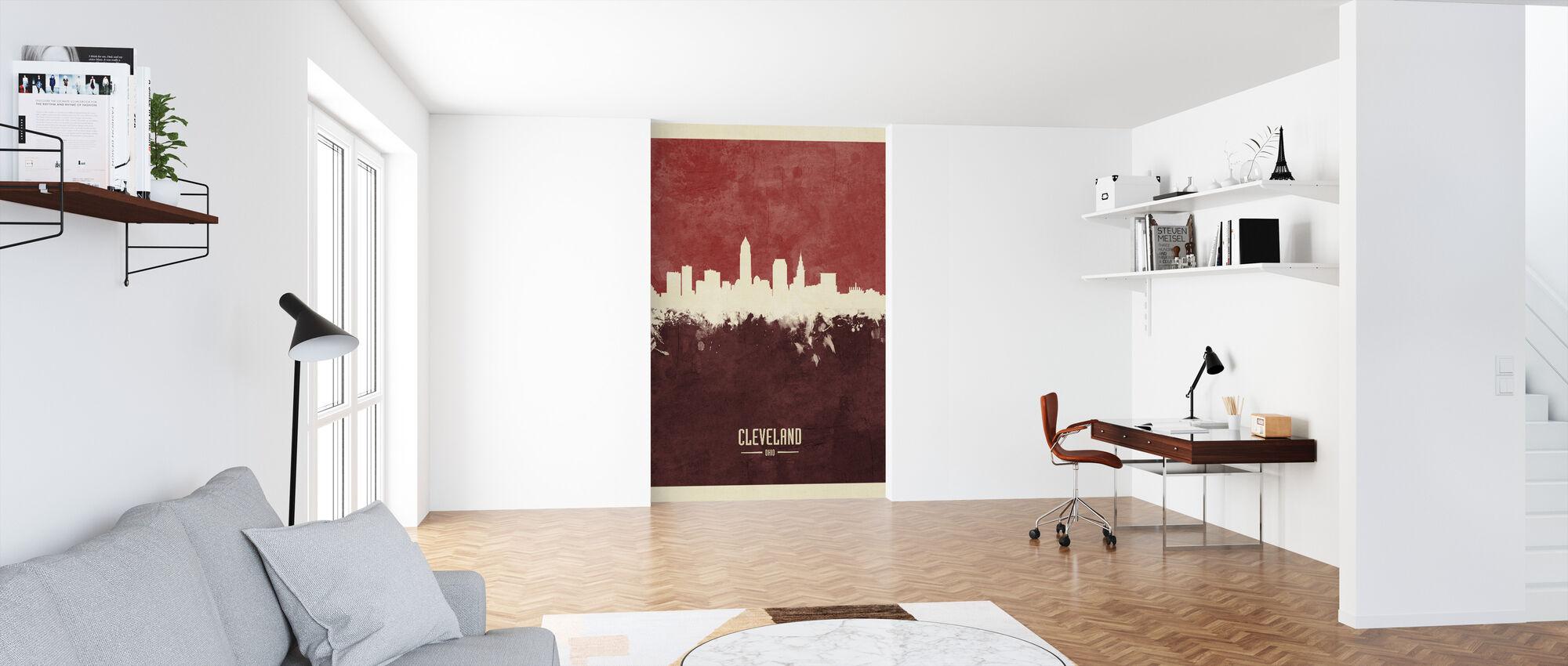 Cleveland Ohio Skyline Rood - Behang - Kantoor