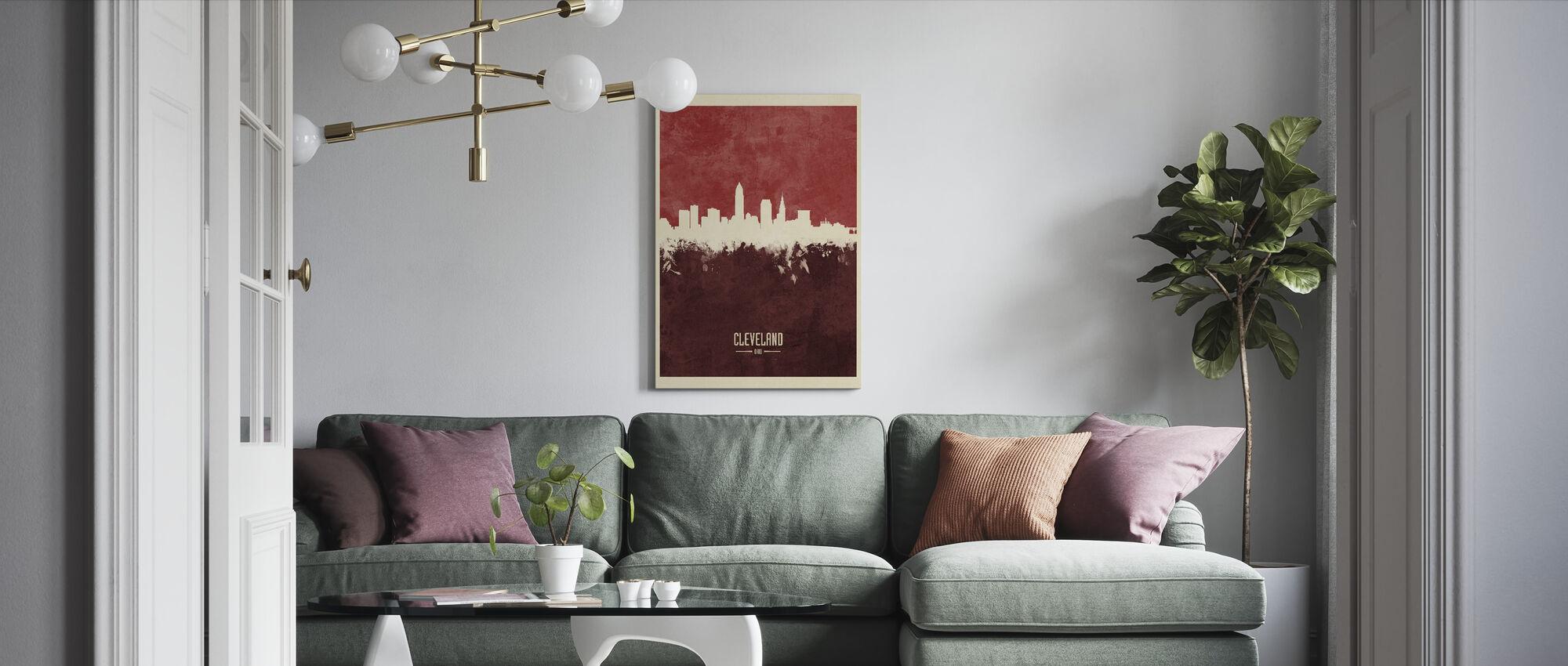Cleveland Ohio Skyline Rood - Canvas print - Woonkamer