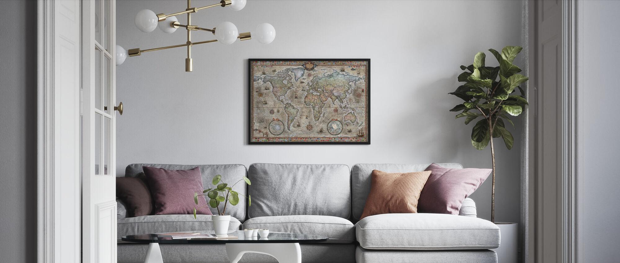 Retro World Map Nordic - Inramad tavla - Vardagsrum