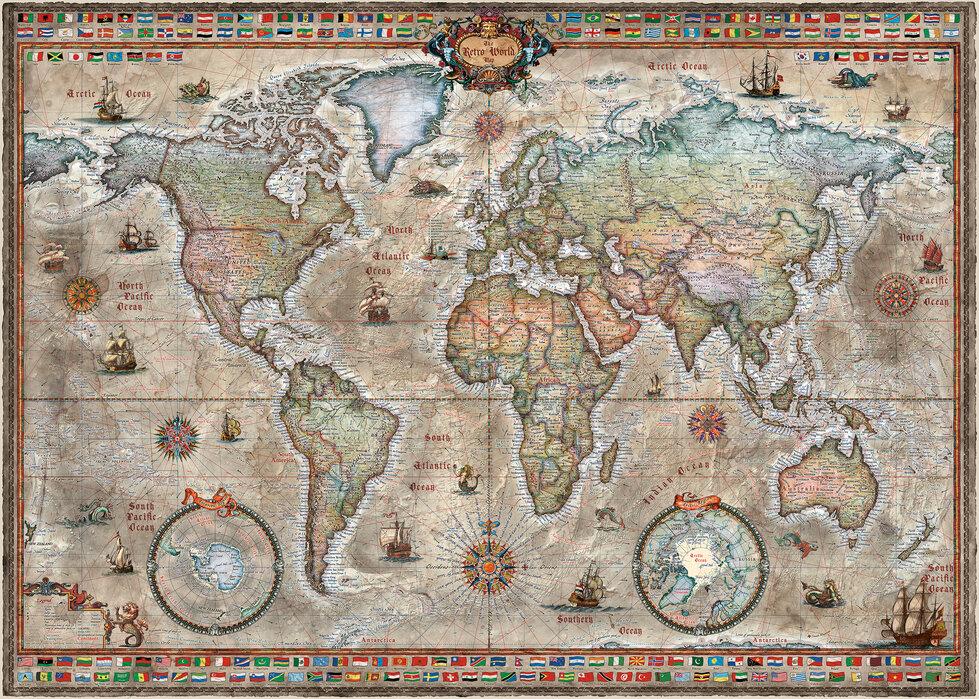 Retro World Map Nordic - Wallpaper
