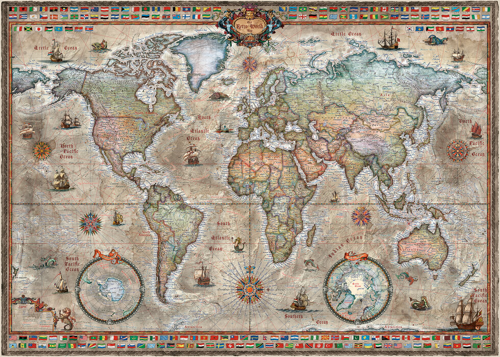 Retro World Map Nordic - Behang