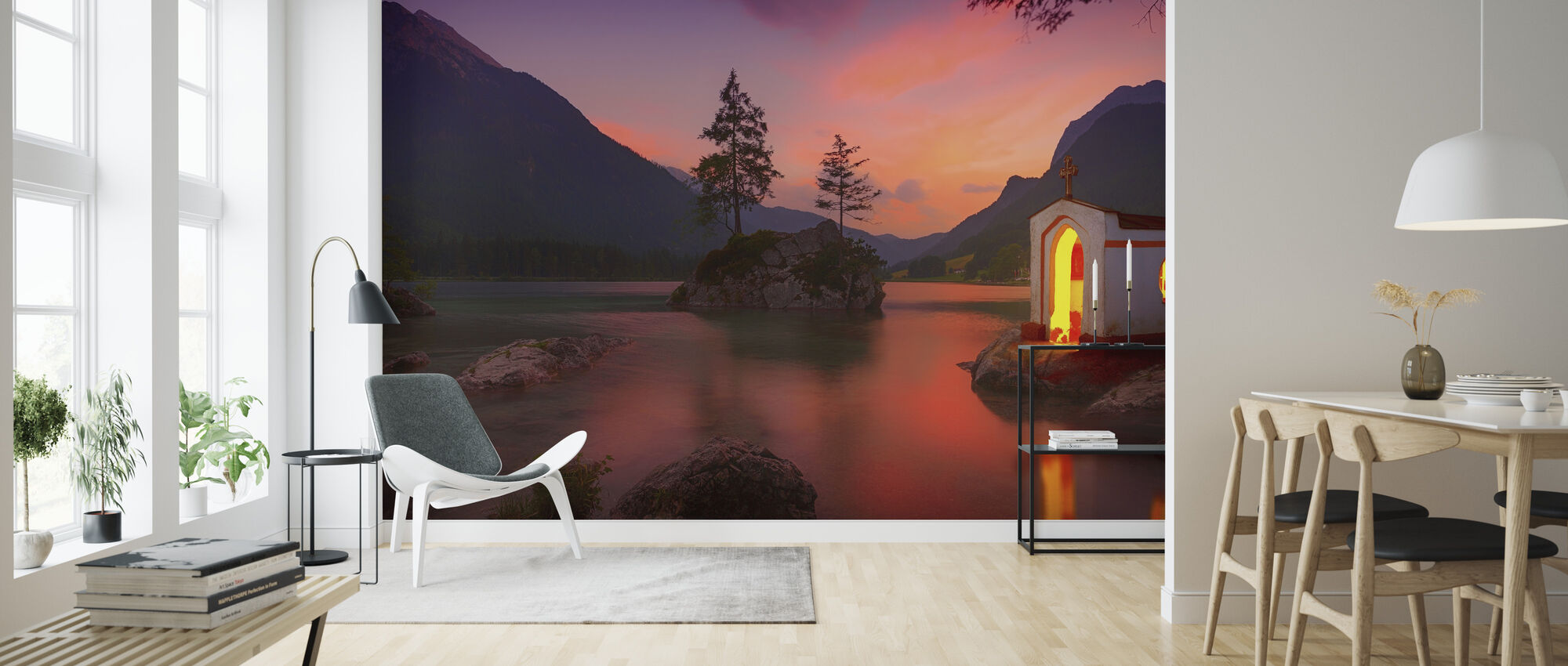 Solnedgång i sjön - Tapet - Vardagsrum