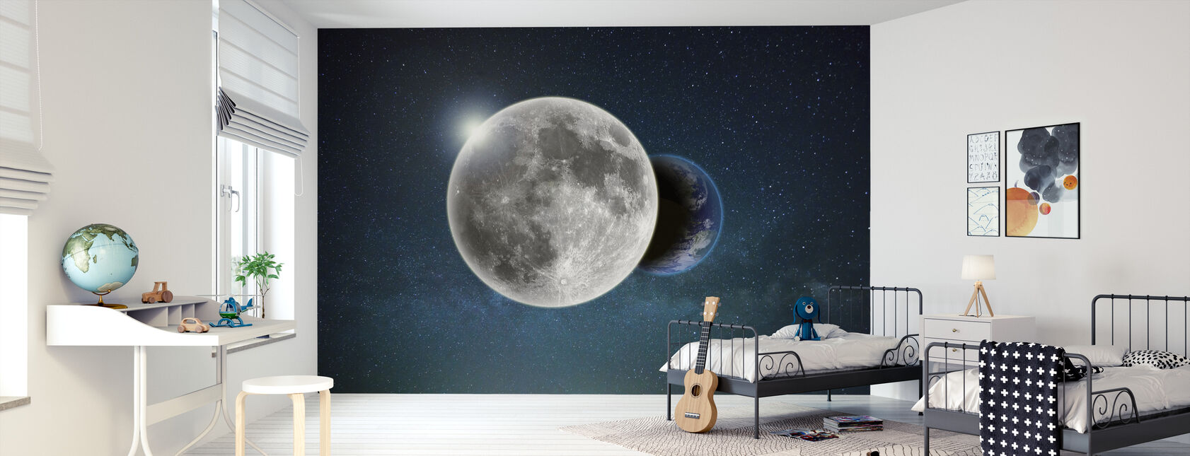 Earth and Moon - Wallpaper - Kids Room