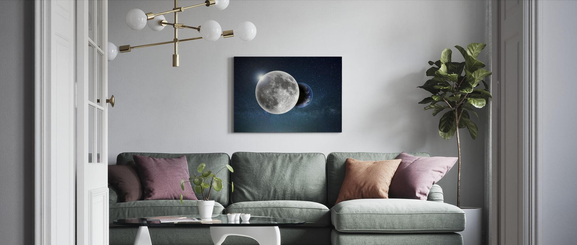 Aarde en Maan - Canvas print - Woonkamer