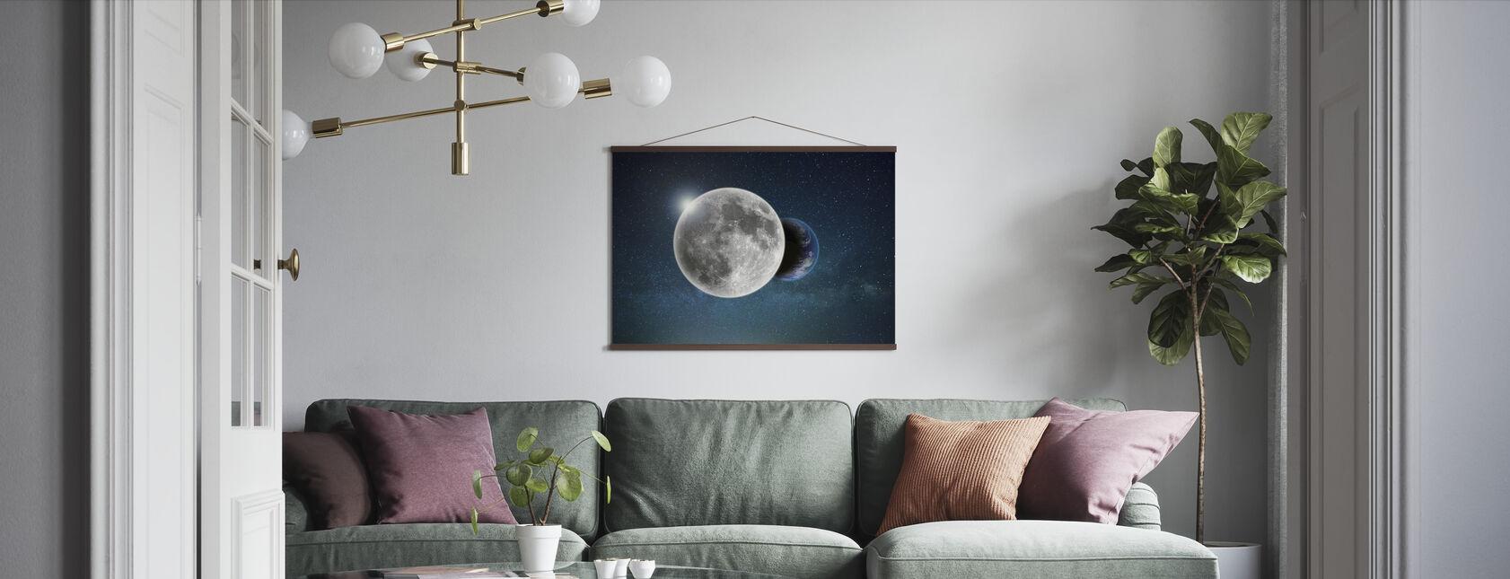 Aarde en Maan - Poster - Woonkamer