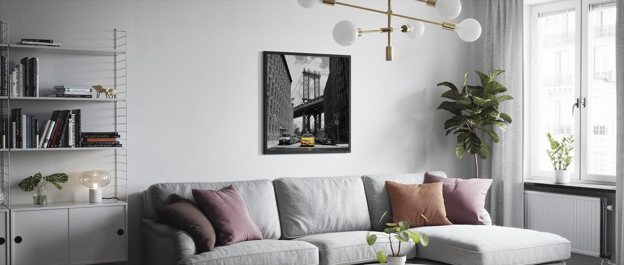 Keltainen taksi - Kehystetty kuva - Olohuone
