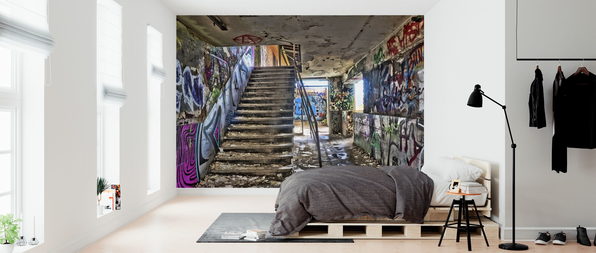 Abandoned Building Staircase - Wallpaper - Bedroom