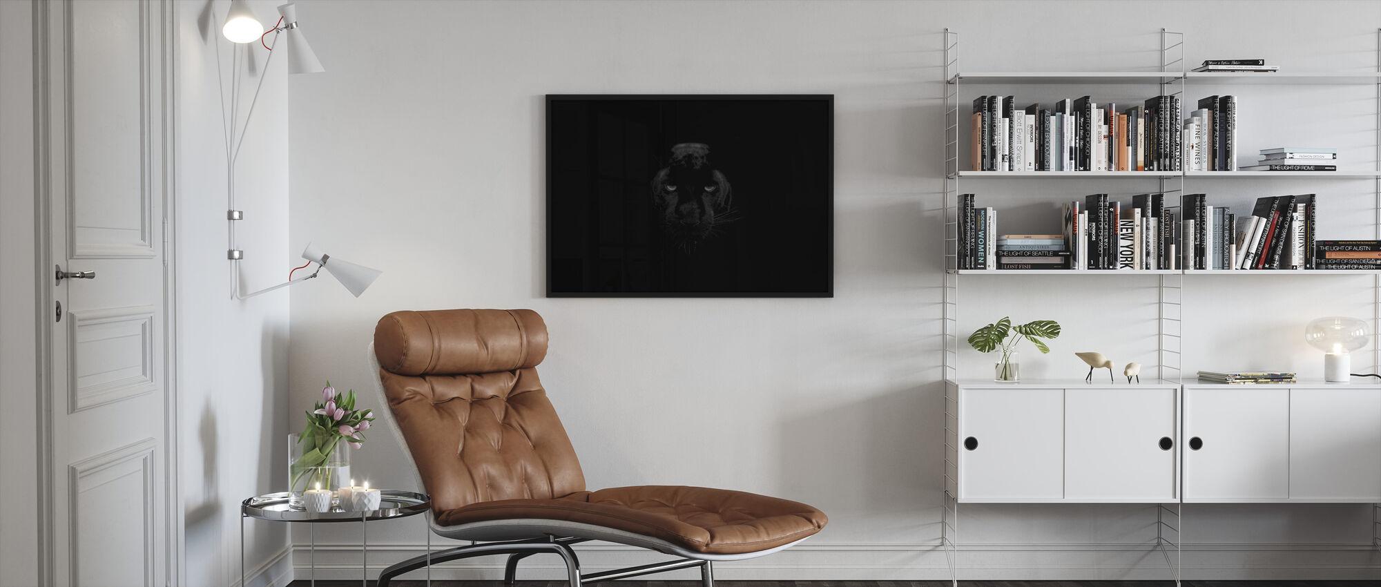 Panther Monochrome - Framed print - Living Room