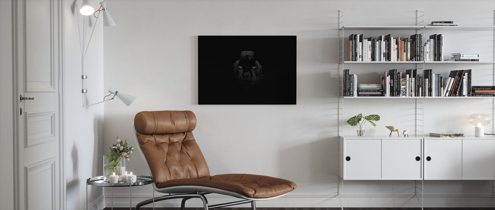 Panther Monochrome - Canvas print - Living Room