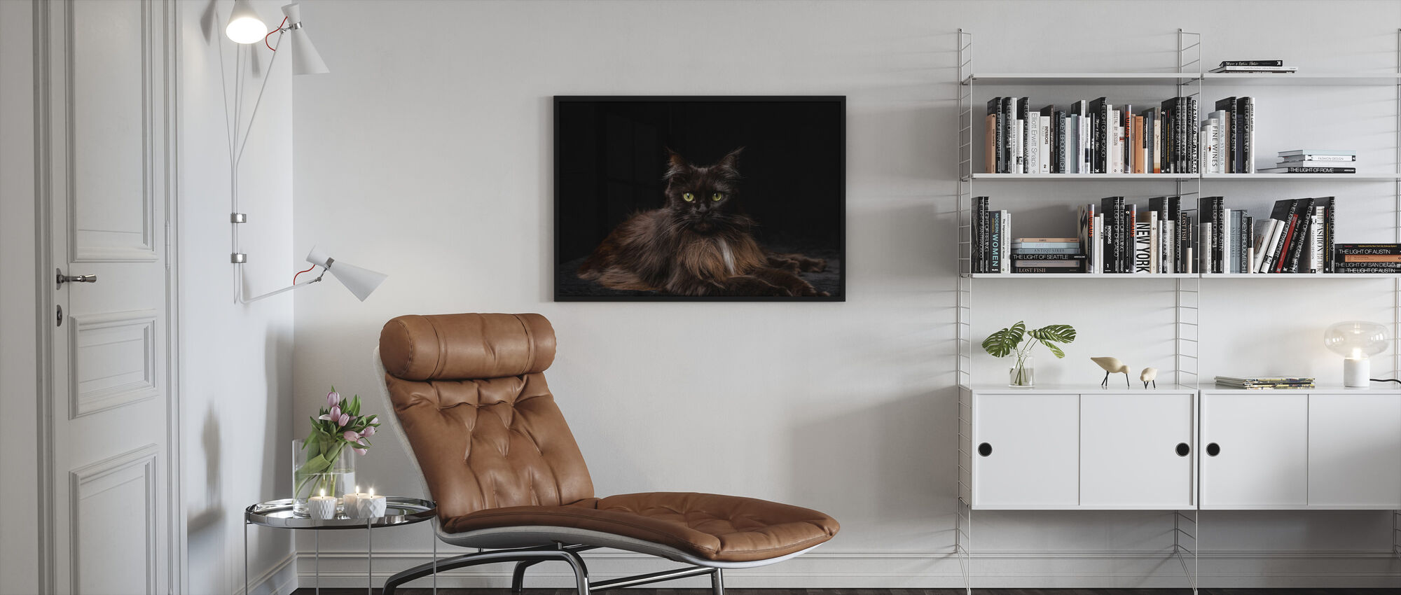 Maine Coon Cat Brown - Framed print - Living Room